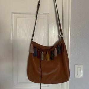 Rebecca Minkoff brown leather crossbody tassel bag